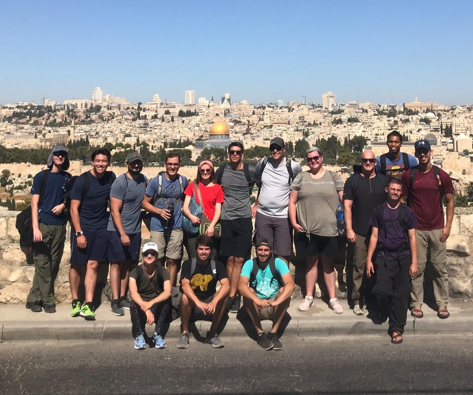 Group photo of a student trip to Israel